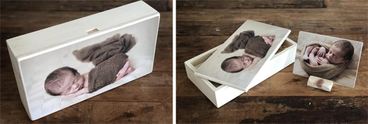 Caixa de madeira com 10 fotos em madeira.