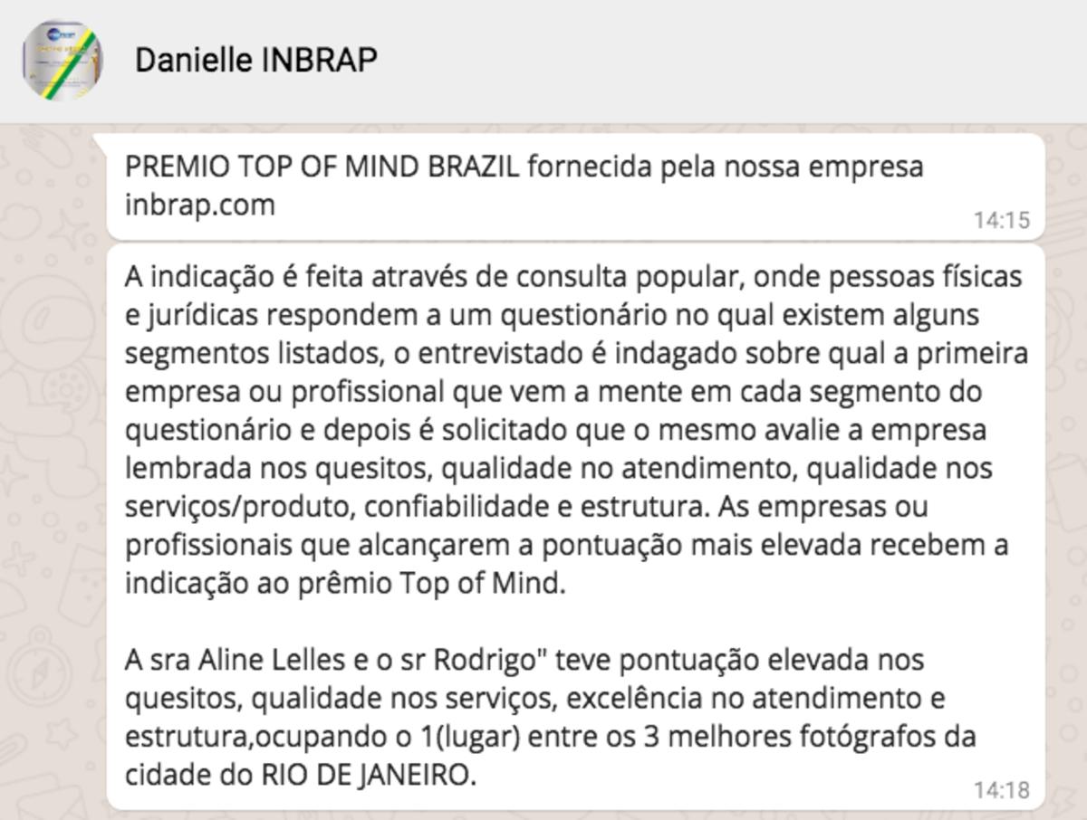 Prêmio INBRAP, Fotografo Top Of Mind Brazil 2018, Prêmio Top Of Mind Brazil,1º top Of Mind Brazil 2018