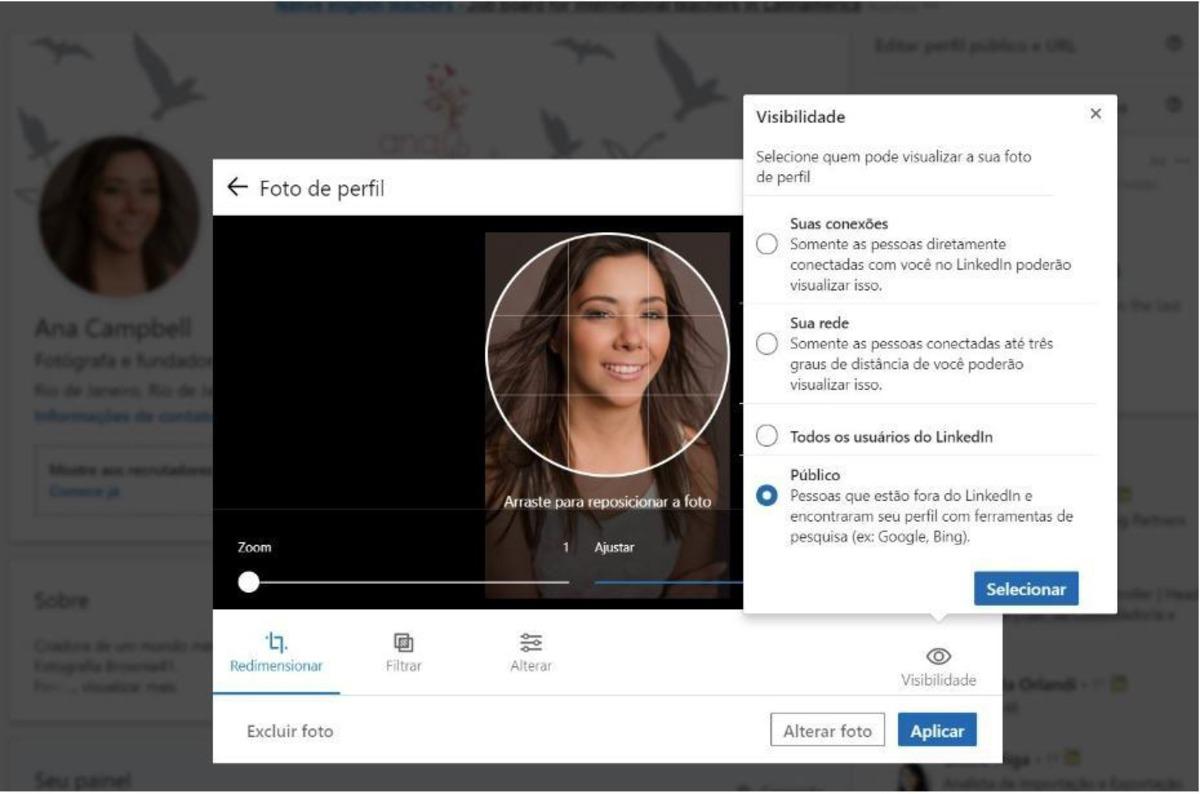 Imagem do perfil no LinkedIn
