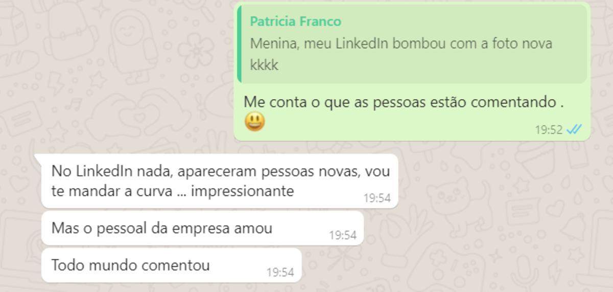 Mensagem do whatsapp enviada pela cliente.