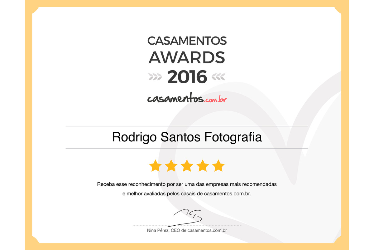 Imagem capa - SOMOS GANHADORES DO CASAMENTOS AWARDS 2016 por Rodrigo Santos Fotografia