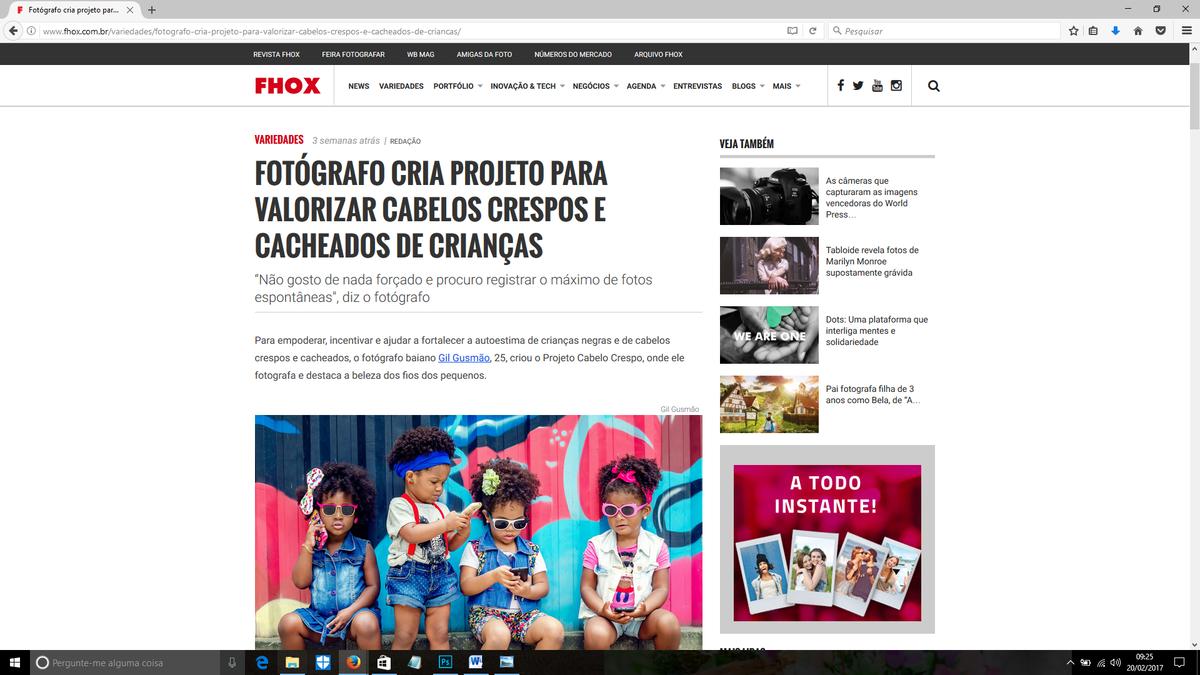 Imagem capa - Entrevista para Revista FHOX por Gilvanio Gusmão de Souza