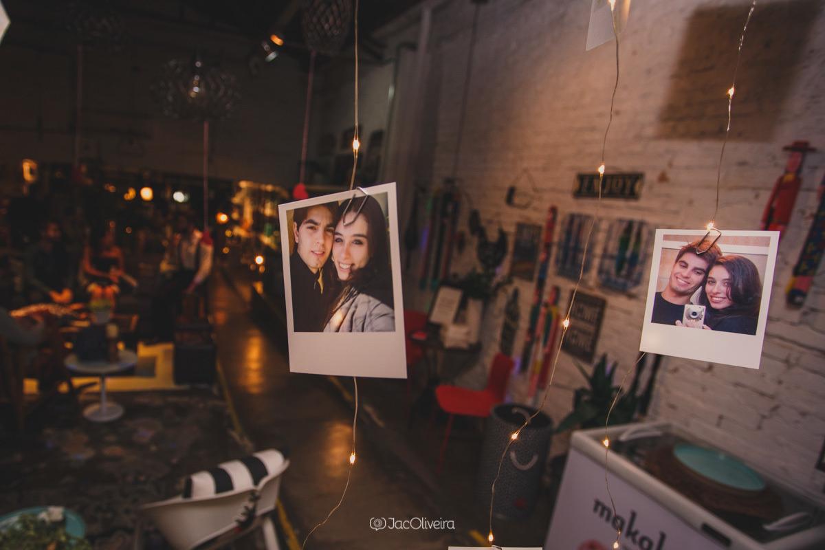 foto polaroide decoração de casamento varal