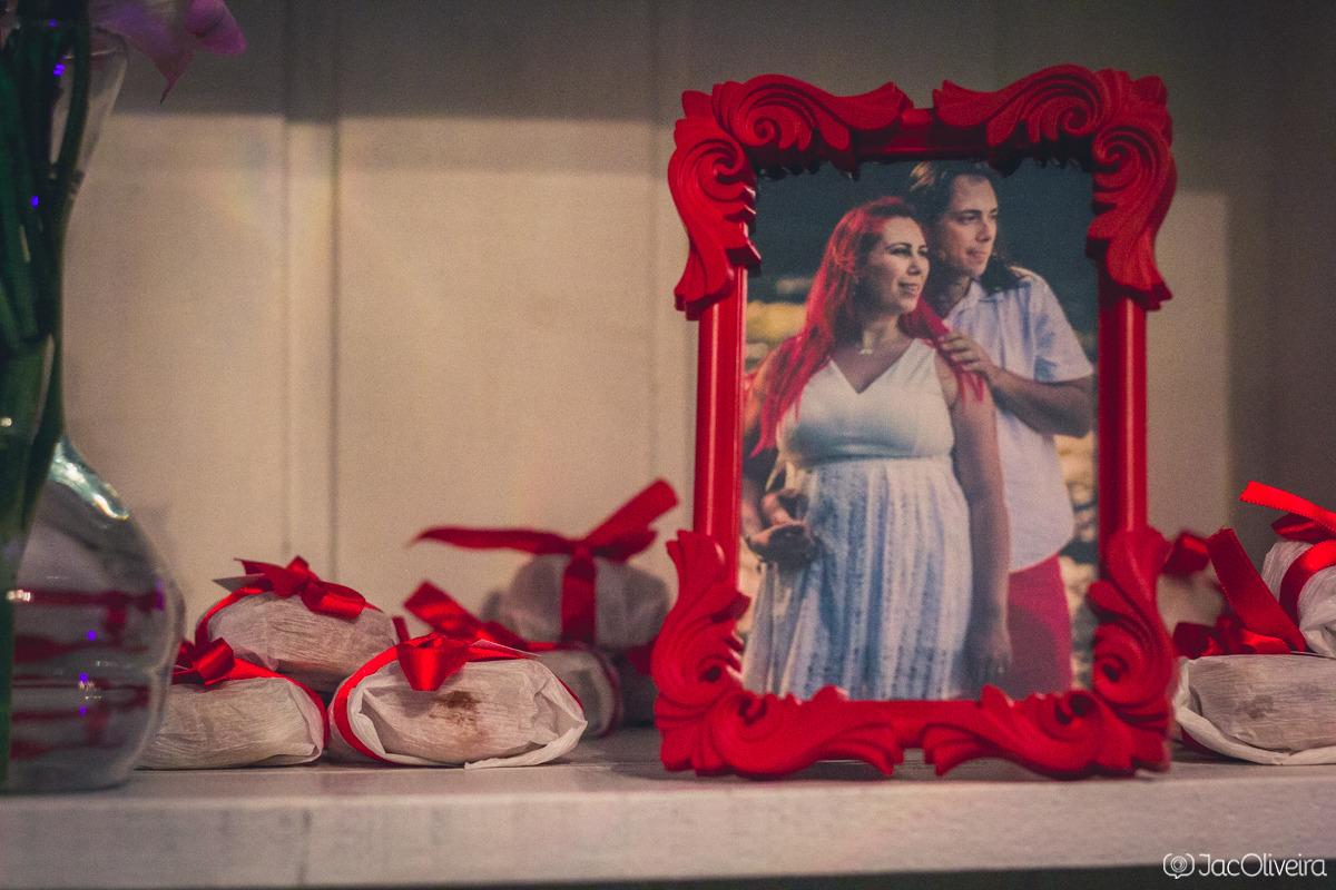porta retrato vermelho decoração de casamento