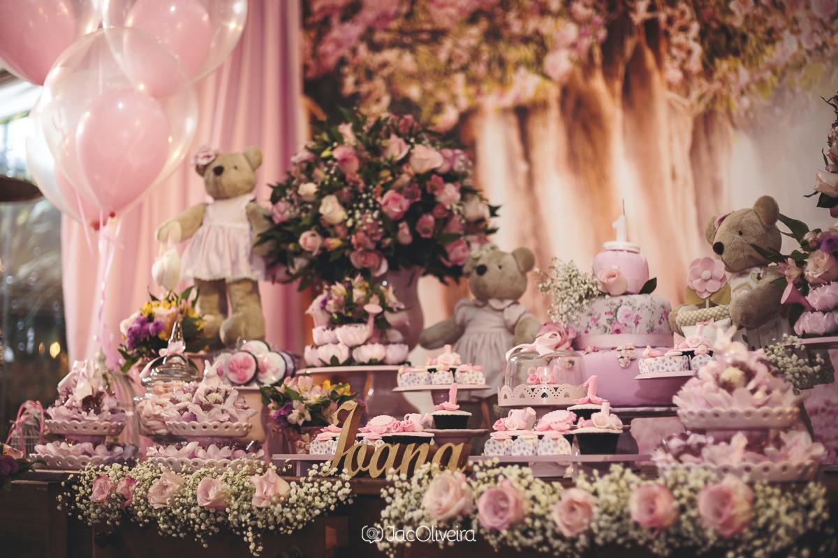 mesa aniversario infantil 1 ano ursinhas rosas