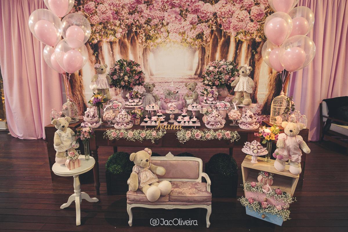 mesa 1 aninho decoração ursinhas rosas merci casa de festa