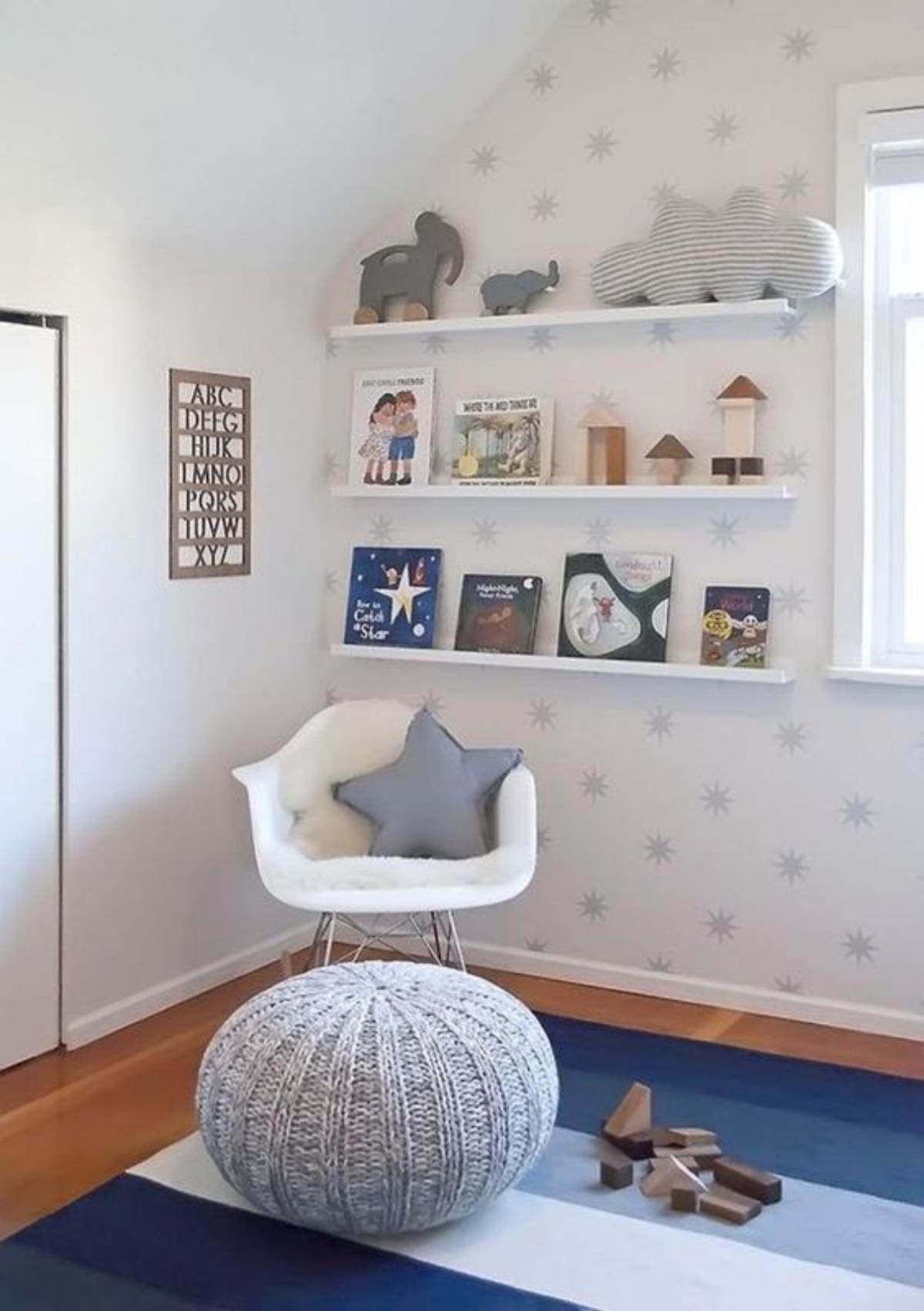 cinza e estrelas decoração quarto de criança
