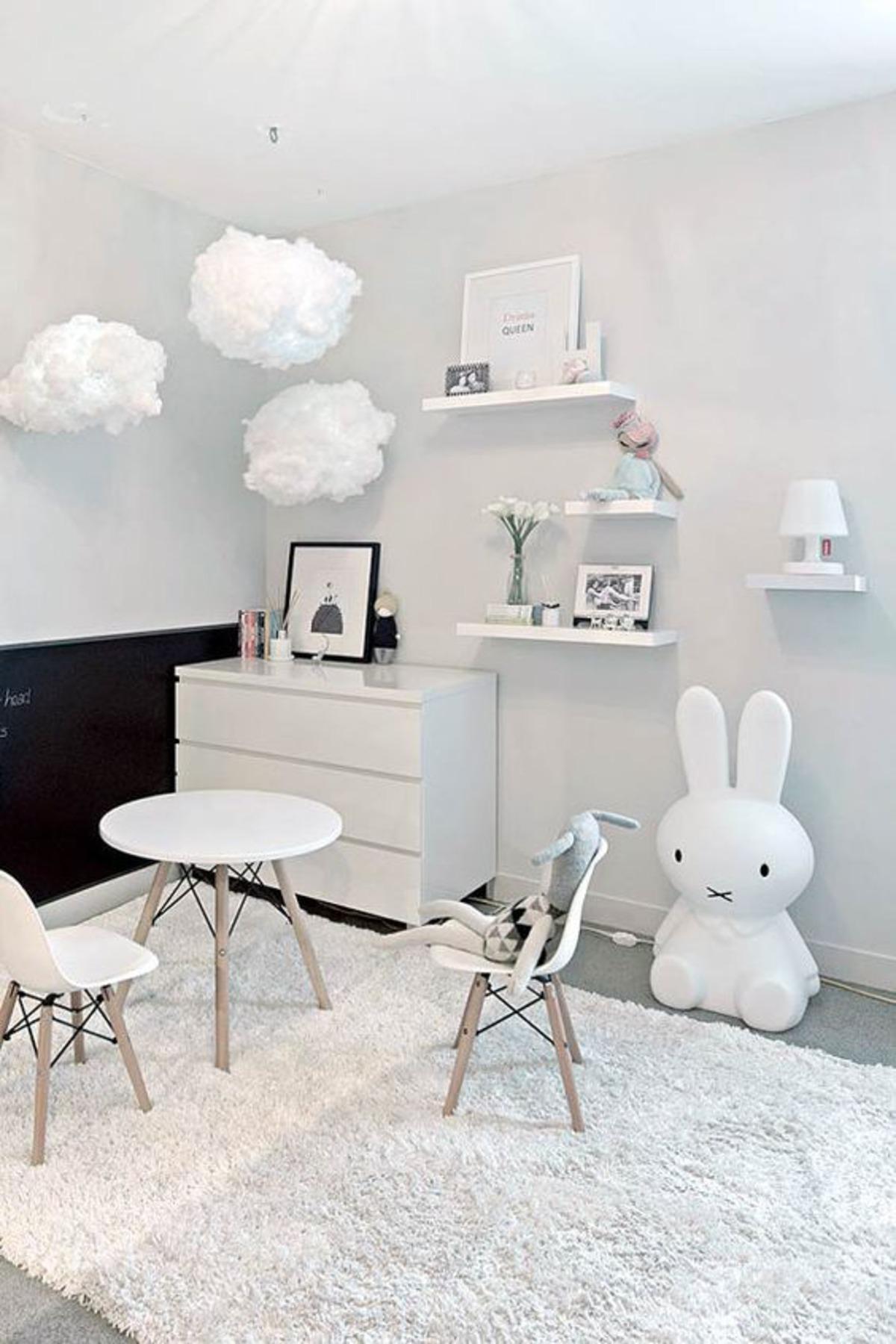 decoração quarto de criança bebê branco