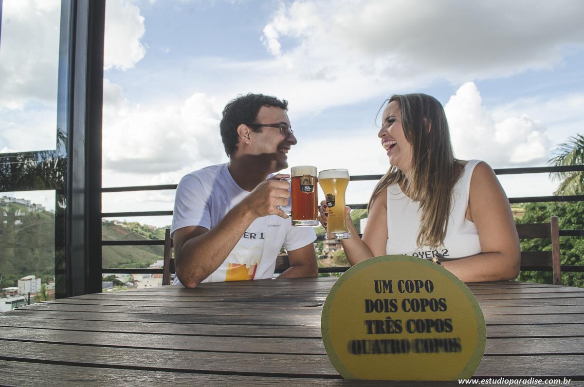 Ensaio pré casamento em pizzaria, bar e cervejaria, em juiz de fora