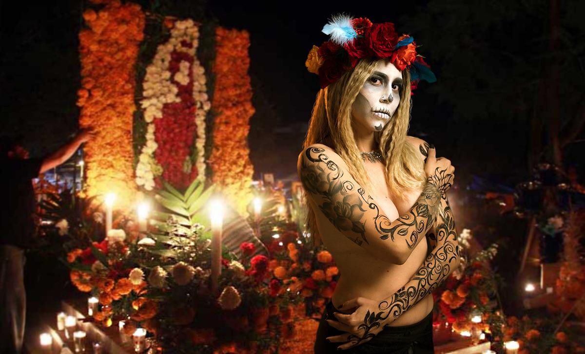 Catrina semidesnuda delante del altar de los muertos