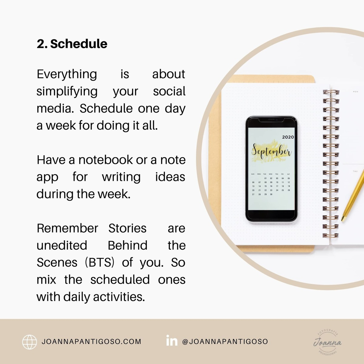have a notebook or note app for write ideas during the week, but set a day for doing all your content