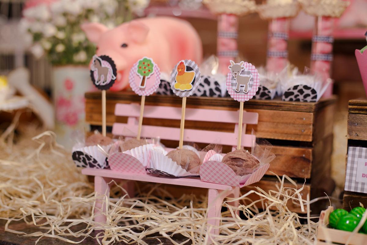 Detalhe da mesa do bolo de um aniversário infantil no tema fazendinha, com algumas plaquinhas com bichinhos. em um banquinho de madeira.
