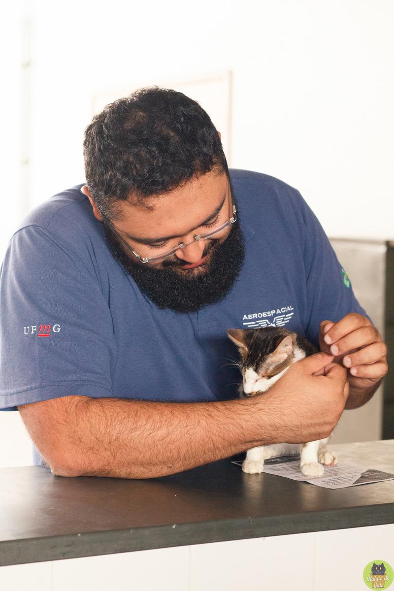 Homem apoiado em uma bancada de pedra fazendo carinho em um gatinho e ganhando carinho de volta.