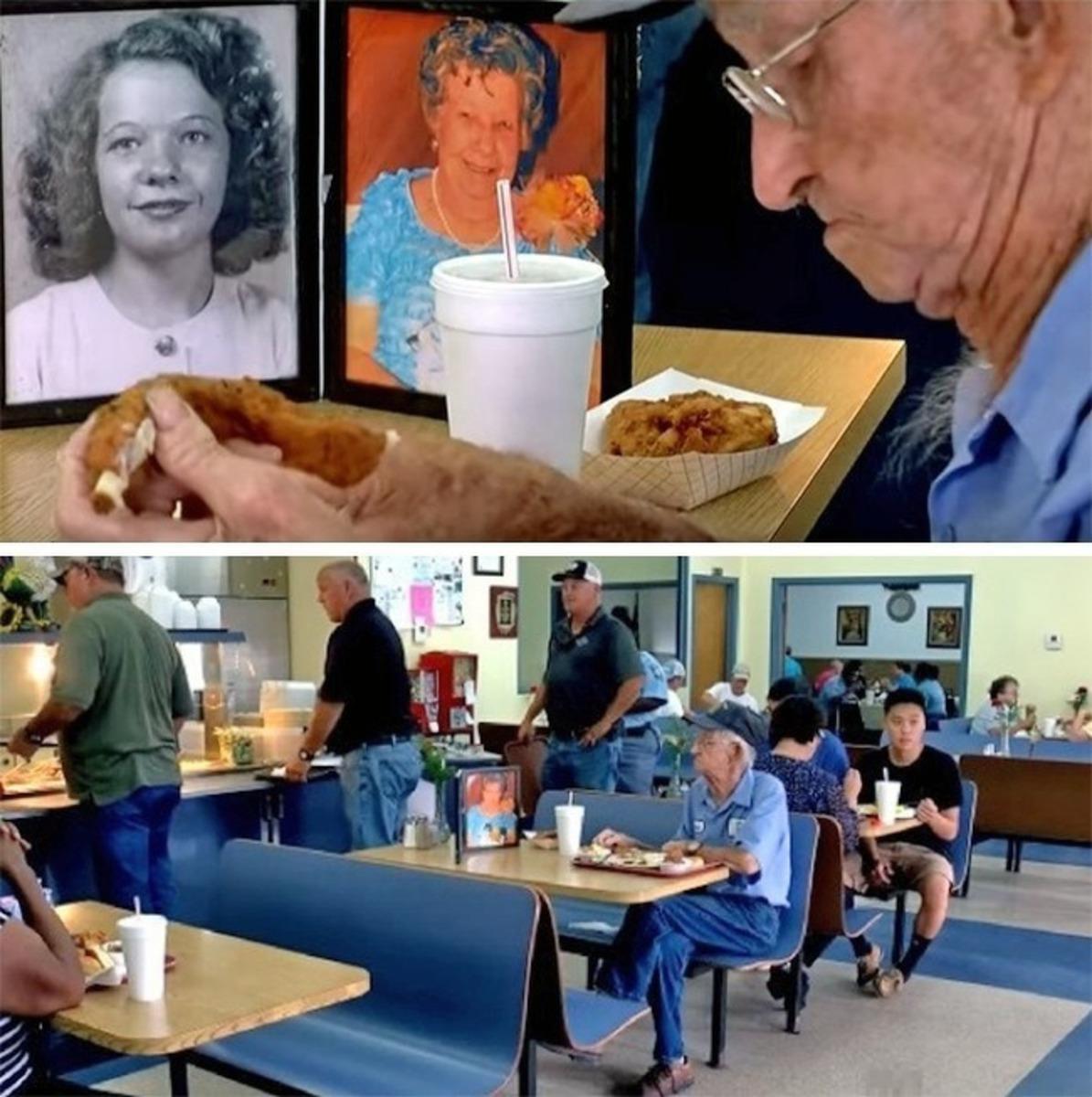 Senhor que leva fotos da esposa falecida para almoçar