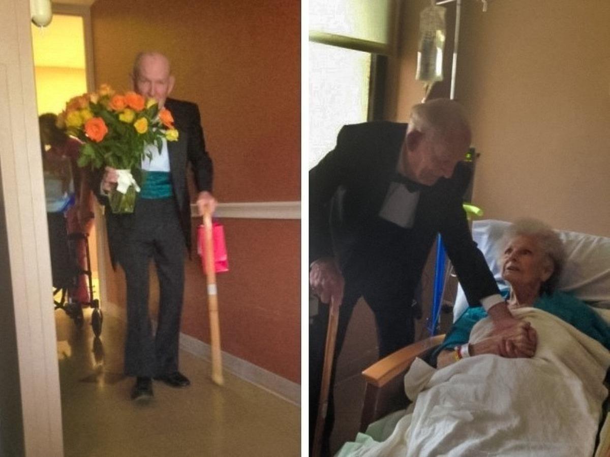 Senhor levando flores para a esposa no hospital de smoking