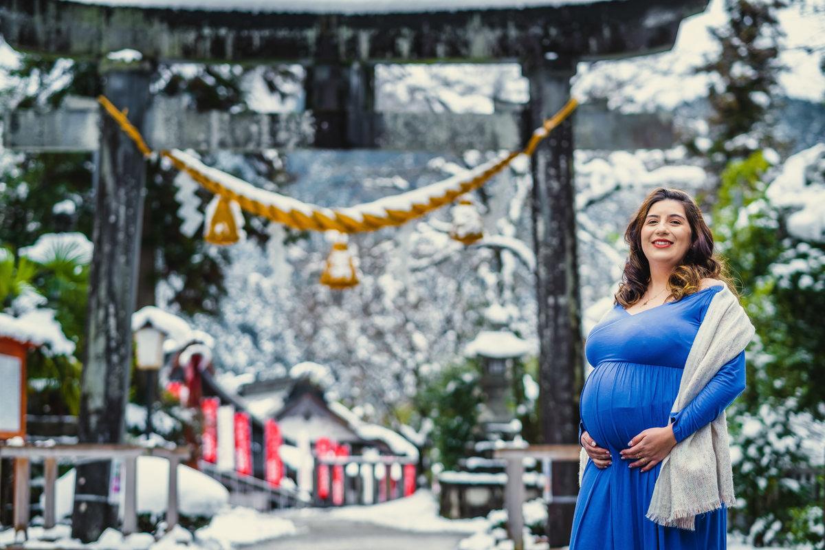 fotografo no japao, ensaio gestante na neve, gestacao no japao, foto de gestante no japao, fotografo em gifu