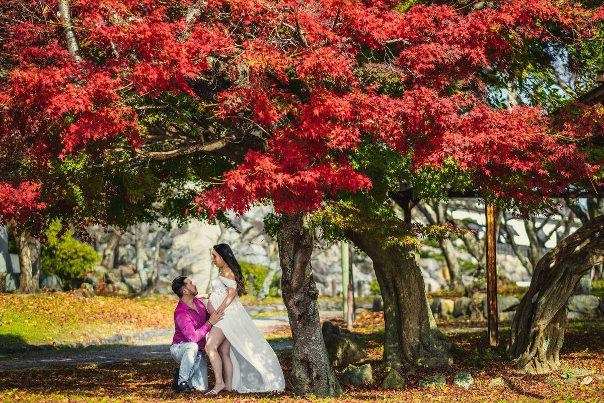 gestacao no japao, foto no outono do japao, gestante no japao, fotografo em shiga, gravidez no japao