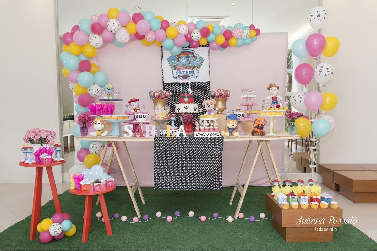 decoração festa infantil, dicas de decoração, fornecedores de decoração, festa infantil, patrulha canina, patrulha canina meninas, patrulha caninina rosa, unifestas buffet & eventos