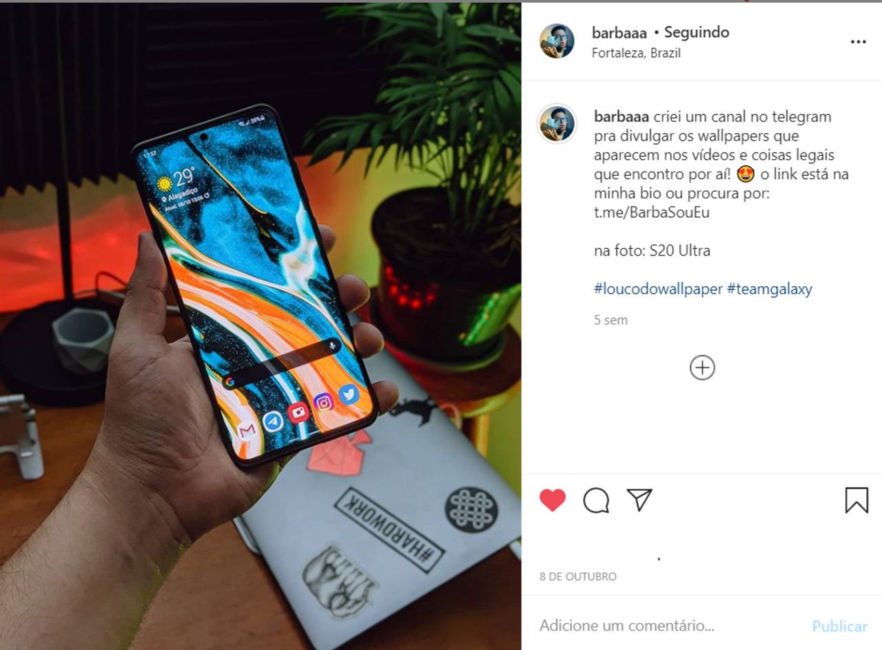 Perfil do Paulo Barba no Instagram